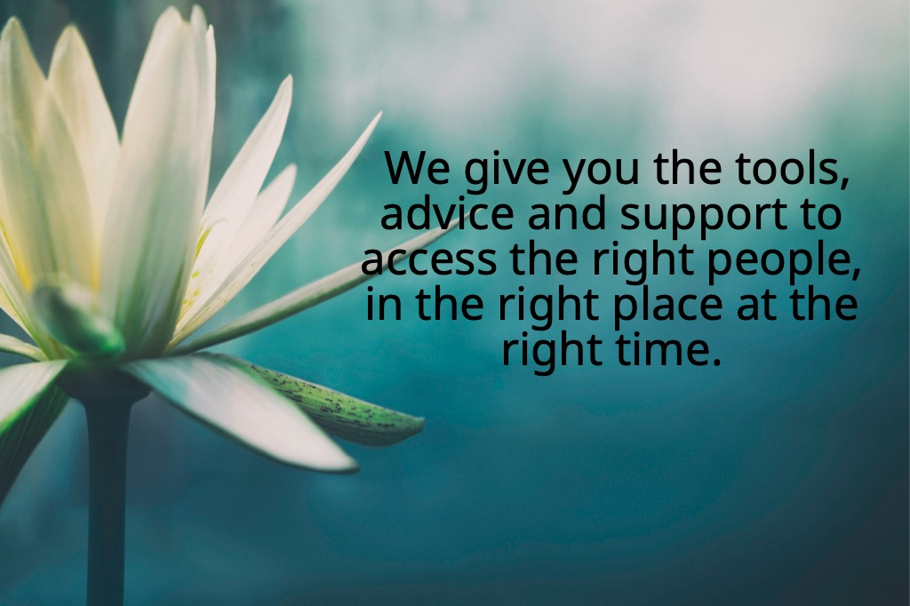 We give you the tools, advice and support to access the right people, in the right place at the right time